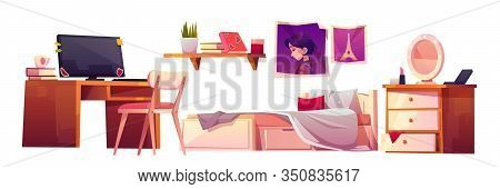 Girl Bedroom Interior Set Isolated On White Background. Vector Cartoon Furniture For Teenager Room,