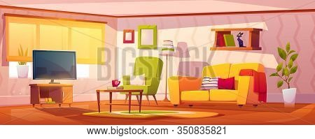 Spring Interior Of Living Room With Sofa, Armchair, Bookshelves And Tv. Vector Cartoon Illustration