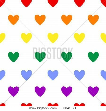 Heart Seamless Pattern. Lgbt Flag Color Symbol On White. Love, Valentines Day, Wedding, Romantic Sig