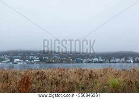 A View Of The Atlantic Highlands Over The Shrewsbury River On A Foggy Autumn Day. Photo Taken From S