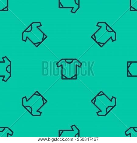 Blue Line Baby Onesie Icon Isolated Seamless Pattern On Green Background. Baby Clothes Symbol. Kid W