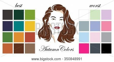 Stock Vector Seasonal Color Analysis Palettes With Best And Worst Colors For Autumn Type Of Female A