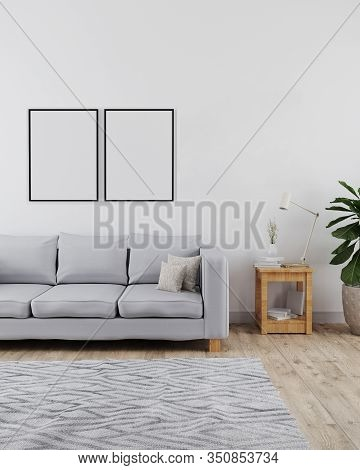 Two Poster Frames Mockup In Modern And Minimalist Interior Of Living Room With Sofa, White Wall And