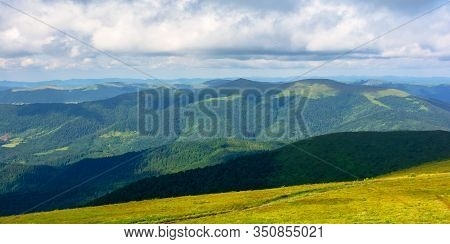Mountain Landscape With Clouds. Beautiful Summer Scenery