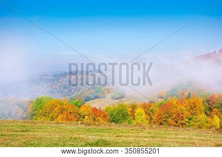 Foggy Mountain Scenery In Autumn. Clouds Rising Above The Rolling Hills On A Sunny Morning. Wonderfu
