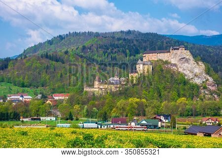 Orava Castle Of Slovakia. Medieval Fortress On A Hill In A Beautiful Place In Mountains. Wonderful S