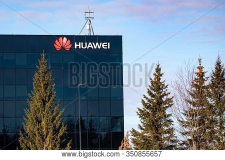 Ottawa, Ontario, Canada - February 12, 2020: An Office Building Occupied In Part By Huawei Is Seen W