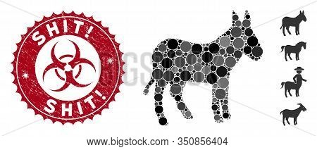 Mosaic Donkey Icon And Rubber Stamp Watermark With Shit Exclamation Phrase And Biohazard Symbol. Mos