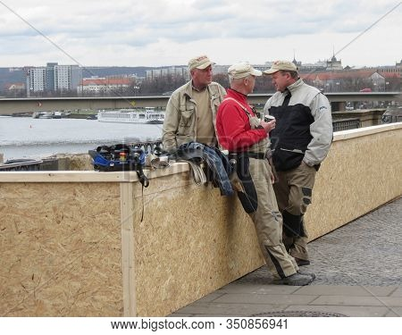 Dresden, Germany - Circa March 2016: Workers Taking A Coffee Break In A Building Site By The River E