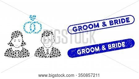 Mosaic People Marriage And Corroded Stamp Seals With Groom And Bride Text. Mosaic Vector People Marr