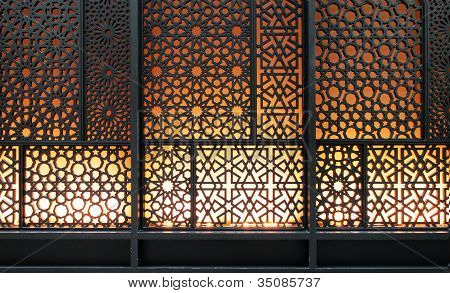 Abstract islamic pattern background curved steel detail poster