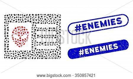 Mosaic Alien Account Card And Distressed Stamp Seals With Hashtag Enemies Caption. Mosaic Vector Ali