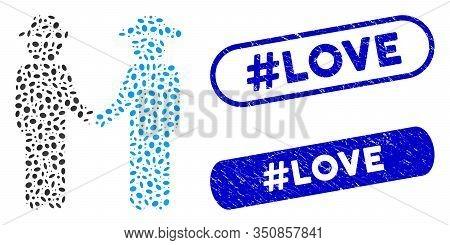 Mosaic Gentleman Handshake And Grunge Stamp Seals With Hashtag Love Phrase. Mosaic Vector Gentleman