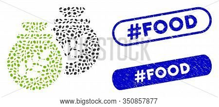 Mosaic Grain Harvest Sacks And Distressed Stamp Seals With Hashtag Food Caption. Mosaic Vector Grain