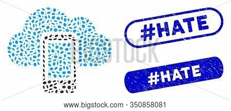 Mosaic Smartphone And Corroded Stamp Seals With Hashtag Hate Caption. Mosaic Vector Smartphone Is De