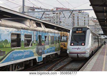 Vigo, Spain - Feb 12, 2020: Trains Stopped At Vigo-guixar Railway Station On February 12, 2020 In Vi