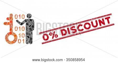 Mosaic Decode Key Pictogram And Red 0 Percent Discount Stamp Between Double Parallel Lines. Flat Vec