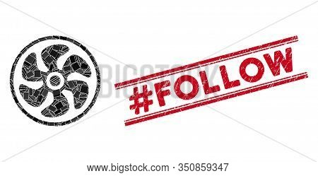 Mosaic Turbine Icon And Red Hashtag Follow Seal Between Double Parallel Lines. Flat Vector Turbine M