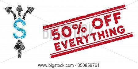 Mosaic Divide Payments Icon And Red 50 Percent Off Everything Rubber Print Between Double Parallel L