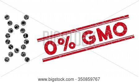 Mosaic Dna Helix Icon And Red 0 Percent Gmo Watermark Between Double Parallel Lines. Flat Vector Dna