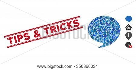 Mosaic Answer Pictogram And Red Tips And Tricks Seal Stamp Between Double Parallel Lines. Flat Vecto