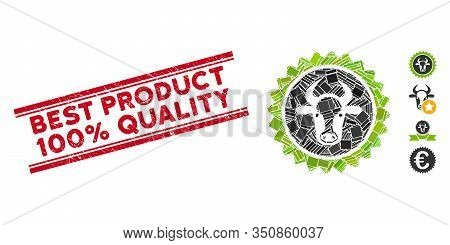 Mosaic Beef Certificate Seal Icon And Red Best Product 100 Percent Quality Stamp Between Double Para