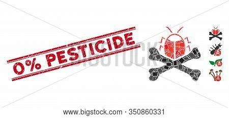 Mosaic Pesticide Pictogram And Red 0 Percent Pesticide Seal Stamp Between Double Parallel Lines. Fla