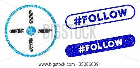 Collage Air Screw And Grunge Stamp Seals With Hashtag Follow Caption. Mosaic Vector Air Screw Is Com