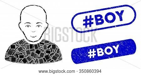 Mosaic Bald Man And Grunge Stamp Seals With Hashtag Boy Text. Mosaic Vector Bald Man Is Created With