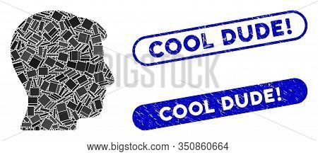 Mosaic Man Head And Corroded Stamp Watermarks With Cool Dude Exclamation Text. Mosaic Vector Man Hea