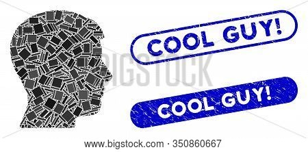 Collage Man Profile And Grunge Stamp Seals With Cool Guy Exclamation Caption. Mosaic Vector Man Prof
