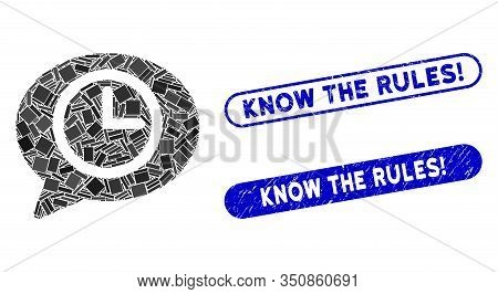 Mosaic Message Time And Distressed Stamp Seals With Know The Rules Exclamation Text. Mosaic Vector M