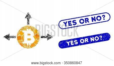 Mosaic Bitcoin Variant Directions And Grunge Stamp Seals With Yes Or No Question Caption. Mosaic Vec