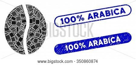 Mosaic Coffee Bean And Rubber Stamp Seals With 100 Percent Arabica Text. Mosaic Vector Coffee Bean I