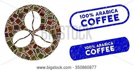 Mosaic Coffee Beans And Grunge Stamp Seals With 100 Percent Arabica Coffee Text. Mosaic Vector Coffe