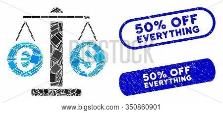 Mosaic Currency Weight And Rubber Stamp Watermarks With 50 Percent Off Everything Text. Mosaic Vecto