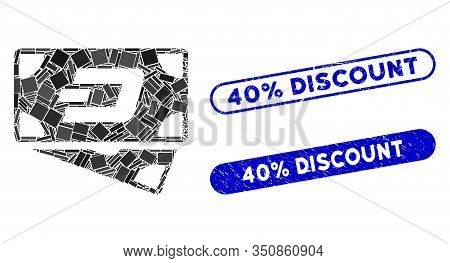 Mosaic Dash Banknotes And Grunge Stamp Watermarks With 40 Percent Discount Phrase. Mosaic Vector Das