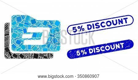 Mosaic Dash Purse And Grunge Stamp Seals With 5 Percent Discount Caption. Mosaic Vector Dash Purse I