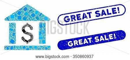 Mosaic Dollar Bank And Corroded Stamp Seals With Great Sale Exclamation Text. Mosaic Vector Dollar B