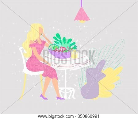 Vector Flat Illustration Young Attractive Woman Eating Salad. Concept Healthy Food, Diet, Raw, Organ