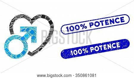 Mosaic Male Love And Distressed Stamp Seals With 100 Percent Potence Text. Mosaic Vector Male Love I