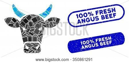 Mosaic Cow And Rubber Stamp Watermarks With 100 Percent Fresh Angus Beef Phrase. Mosaic Vector Cow I