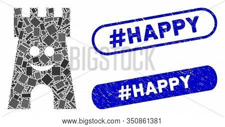 Mosaic Happy Fort Tower And Distressed Stamp Seals With Hashtag Happy Phrase. Mosaic Vector Happy Fo