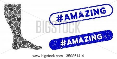 Mosaic Leg And Rubber Stamp Seals With Hashtag Amazing Text. Mosaic Vector Leg Is Composed With Rand