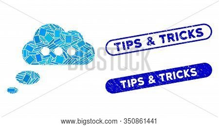 Mosaic Opinion Cloud And Distressed Stamp Watermarks With Tips And Tricks Text. Mosaic Vector Opinio