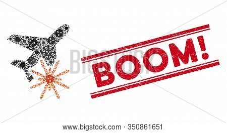 Pathogen Mosaic Aiplane Explosion Icon And Red Boom Exclamation Rubber Print Between Double Parallel