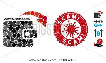 Mosaic Spend Money Icon And Red Round Grunge Stamp Watermark With Scam Exclamation Phrase And Corona