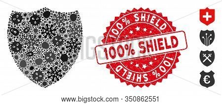 Infected Mosaic Shield Icon And Rounded Grunge Stamp Watermark With 100 Percent Shield Text. Mosaic