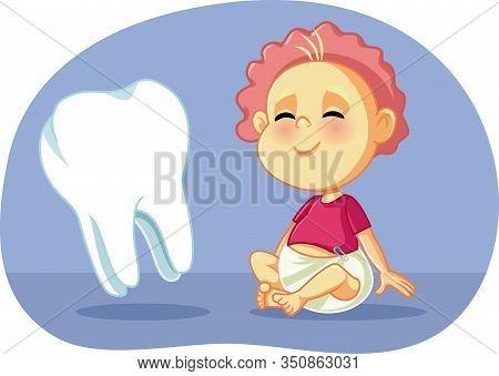 Cute Baby With Big Teeth Vector Cartoon Illustration