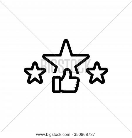 Black Line Icon For Rating Star Ranking Valuation Favorite Feedback Review Like Satisfaction Excelle